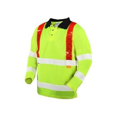 Hi Vis Polyester Long Sleeve Polo Shirt Red Brace