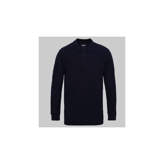 Gildan Long Sleeve Cotton Double Pique Polo Shirt