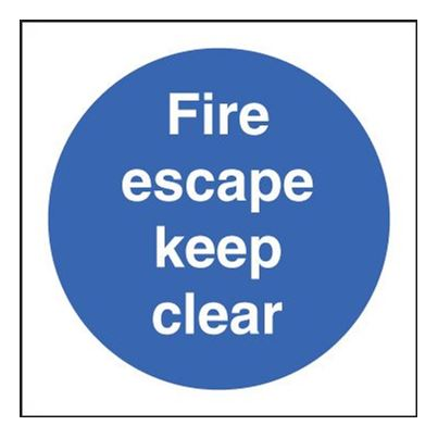 Rigid Plastic Fire Escape Keep Clear Sign